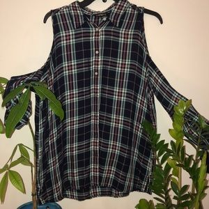 Long sleeve flannel with cut out shoulders